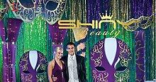 ShinyBeauty-Folie-Fransen-Vorhang grün-3FTx8FT, Folie Fringe Tür Fenstervorhang, Metallfolie Vorhang/backdrop(2 Stück)