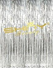 shinybeauty® Folie fringe-curtain-silver-12ftx10ft, Tür Fenster Vorhang/Hintergründe, Party/Geburtstag/Hochzeit decorationn