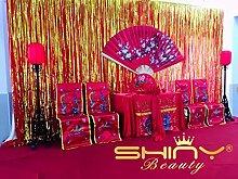 ShinyBeauty® Folie Fringe Hintergrund Gold-12FTx10FT Tür Fenster Vorhang/Kulissen Foto Hintergrund Party Dekoration