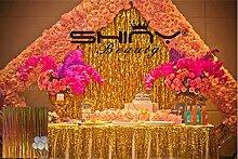 ShinyBeauty® Folie Fringe Hintergrund Gold-3FTX8FT Tür Fenster Vorhang/Kulissen Foto Hintergrund Party Dekoration(Packung mit 3)