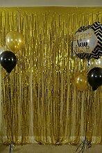 shinybeauty Folie Vorhang 6x 8ft- Gold Metallic Tür Fenster Vorhang Party für Halloween Party Vorhang Dekoration (2Stück)