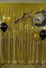 shinybeauty Folie Vorhang gold-9X 2,4m Gold Folie Fransen Tür Fenster Vorhang für Halloween/Weihnachten Party Vorhang Dekoration (Pack von 3)