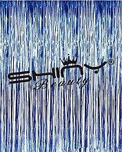 shinybeauty Folie Vorhang Royal blue-6X 2,4m, royal blau Folie Fransen Tür Fenster Vorhang für Halloween/Weihnachten Party Vorhang Dekoration (2Stück)