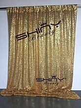 shinybeauty Foto Hintergrund–Event, Hintergrund und Vintage Hintergrund für Hochzeit, Party, Fotografie, Vorhang, Geburtstag, Weihnachten, Ball und andere Event Decor–7ftx8ft (213,4x 243,8cm) (Gold)