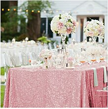 shinybeauty Fuchsia Pink Pailletten Tischdecke 125cmx125cm quadratisch Tischwäsche für Geburtstag/Hochzeit/Party Tisch Dekoration
