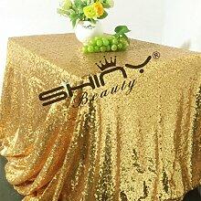ShinyBeauty Glitzerndes Gold Pailletten Tischdecke-150x260cm Rechteck