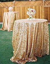 ShinyBeauty Glitzerndes Gold Pailletten Tischdecke-225cm Runde