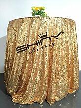 ShinyBeauty Glitzerndes Gold Pailletten Tischdecke-275cm Runde