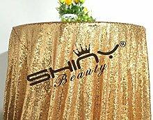 shinybeauty Gold 125cm Pailletten Tischdecke rund Glitzer Circular Pailletten Tischdecke Cool Schwarz Pailletten Tischdecke bei Hochzeitsfeier Geburtstag PAR, Digi Abendessen Festtafel Linens Dekoration