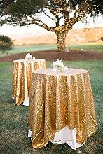 shinybeauty Gold Pailletten Tischdecke für