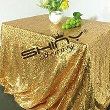 shinybeauty Gold Pailletten Tischdecke für Hochzeit oder jeder Veranstaltungen Custom Sparkle Pailletten Tischdecken Overlays Dekoration, gold, 90inx132in