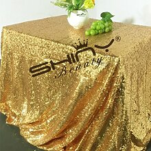 shinybeauty Gold Pailletten Tischdecke für Hochzeit oder jeder Veranstaltungen Custom Sparkle Pailletten Tischdecken Overlays Dekoration, Gold Color, 60inx102in