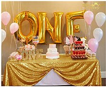 ShinyBeauty Gold Rectangular Tablecloth 150x260cm