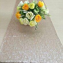 shinybeauty Großhandel von Eleganter Champagner Pailletten Tischläufer (30,5x 243,8cm)