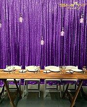 ShinyBeauty Hintergrund/Kulisse für Fotoshooting, 121,9 x 182,9 cm, violetter Vorhang/Tischdecke mit Pailletten, für Hochzeiten und andere Anlässe, violett, 6x8f