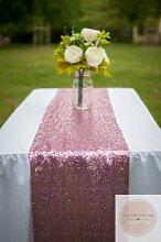 ShinyBeauty hochzeit tabelle läuferin Rose Pink12x90inch pailletten tischdecken champagner für party event dinner Tisch Läufer-30cmx180cm-Fushia Rosa Pailletten #53