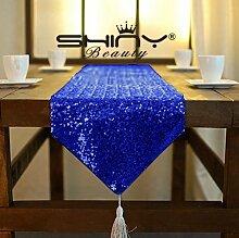 ShinyBeauty Königsblau Tassel Pailletten Tischläufer 33x180cm schimmern Pailletten Stoff Quaste Pailletten Tischläufer besser passenden Tisch/Sofa/Bett oder Wedding Party Anlässe Shiney Stoff Dekoration (Königsblau)