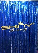 shinybeauty Lametta Folie Fransen curtain-3ftx8ft-royalblue Tür Fenster Vorhang/Hintergründe Party Dekoration, Königsblau, 12x10f