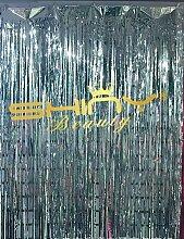 shinybeauty® Lametta Folie Fransen curtain-6ftx8ft-fuchsia Tür Fenster Vorhang/Hintergründe Party Dekoration (Fuchsia), silber, 3FTx8FT