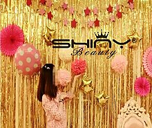 shinybeauty Lametta Folie fringe-backdrop-21ftx8ft-gold Metallic Tür Fenster Vorhang Party Dekoration (7 Stück)