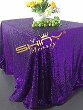 shinybeauty lila Pailletten tablecloth-60X 102in glänzend Pailletten Glamorous Tischdecke für Hochzeit/Gathering/, Tischdekoration