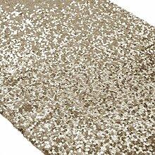 ShinyBeauty Marineblau Pailletten Tischläufer Großhandel-Hellgold Pailletten Tabelle Runner(30x275cm)