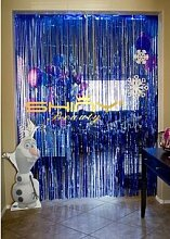 shinybeauty® Metallic 3 ftx8ft blau Folie Fransen Vorhänge Tür Fenster Vorhang Party Dekoration
