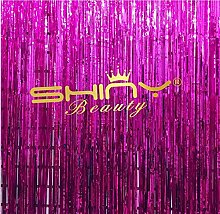 shinybeauty Metallic 3 ftx8ft Gold Folie Fransen Vorhänge Tür Fenster Vorhang Party Dekoration, fuchsia, 3x8f