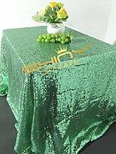 ShinyBeauty Mintgrün Rechteckige Pailletten Tischdecke-Silber 225x330cm