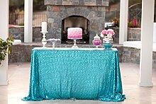 ShinyBeauty Mit hoher Dichte 150x300cm Türkis Pailletten Tischdecke Glitter Tabelle Overlays