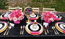 ShinyBeauty Mit hoher Dichte 180x300cm Schwarz Pailletten Tischdecke Glitter Tabelle Overlays