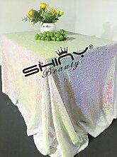 ShinyBeauty Mit hoher Dichte 225x390cm Geänderte weiß Pailletten Tischdecke Glitter Tabelle Overlays