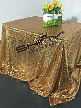 ShinyBeauty Mit hoher Dichte 225x390cm Gold Pailletten Tischdecke Glitter Tabelle Overlays