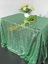 ShinyBeauty Mit hoher Dichte 225x390cm Mintgrün Pailletten Tischdecke Glitter Tabelle Overlays