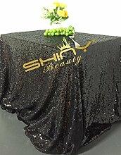 ShinyBeauty Mit hoher Dichte 225x390cm Schwarz Pailletten Tischdecke Glitter Tabelle Overlays