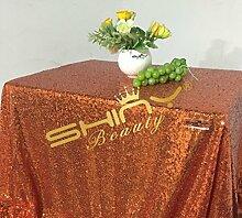 Shinybeauty Orange Pailletten Tischdecken für Hochzeit/Party - 60 x 102-Zoll (150x260cm)