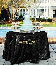 ShinyBeauty Pailletten Schwarz Tischdecke 120''-Runde Schimmer Glitzer Pailletten Stoff luxuriösen Schwarz Pailletten für moderne Glam Hochzeit vorne
