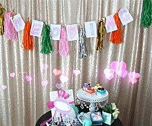 ShinyBeauty Pailletten Stoff Hintergrund-10FTX10FT-Champagne Fotografie Dekoration