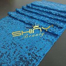 ShinyBeauty Pailletten Tisch Läufer-35cmx275cm -Türkis für Hochzei