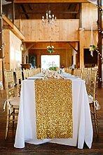 shinybeauty Pailletten Tischläufer gold Rechteck Pailletten Tischläufer 30,5x 182,9cm Pailletten Tisch Dekoration, Leinen, gold, 12x90in