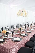 shinybeauty Pink Gold-90x 156in Pailletten Tischdecke Glitzer Pailletten Tischdecke Shimmer Pailletten Stoff für Hochzeit/Party/Events/Banke