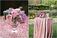 ShinyBeauty Pink Gold Pailletten Tischdecke 72 In rund (180cm Runde), Glitzer Pailletten Stoff Tischdecke einzigartige Tischdecke für Funkelnde Hochzeits party Luxus Tuch Raum dekoration