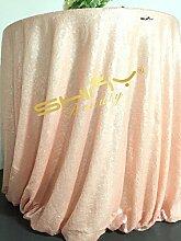 shinybeauty Pink Pailletten Tischdecke, 121,9x 182,9cm Pink Pailletten Tischdecke, Eckig, glitzernden Pailletten Stoff Tischdecke für Hochzeiten oder Events Dekoration, Leinen, rose, 90in Round