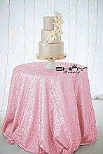 ShinyBeauty Pink Pailletten-Tischdecke rund 274 cm
