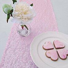 shinybeauty Pink Pailletten Tischläufer für Party, Leinen, Pink Color, 14x120Inch