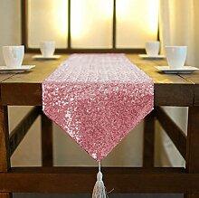 ShinyBeauty Quaste Pailletten Tischläufer 12x120in-30X300cm, pink Gold glitzernden Quaste Tisch Läufer schimmern Pailletten Stoff für Table Runner romantischen Hochzeit Party Tischwäsche Dekoration