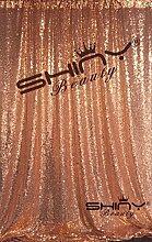 ShinyBeauty Rose Gold 125x215cm Pailletten Tischdecken funkelnde Glitter Tischdecke Overlays