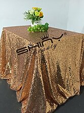 ShinyBeauty Rose Gold Pailletten Tischdecke, Großhandel Hochzeit Schöne Rose Gold Pailletten Tabelle Tuch/Overlay/Cover (180x185cm)