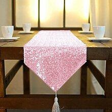 ShinyBeauty Rose Tassel Pailletten Tischläufer 33x180cm schimmern Pailletten Stoff Quaste Pailletten Tischläufer besser passenden Tisch/Sofa/Bett oder Wedding Party Anlässe Shiney Stoff Dekoration