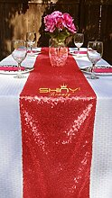 ShinyBeauty Rot Pailletten Tischläufer-30x275cm-Läufer Paillette Tischläufer (30x275cm, Rot)